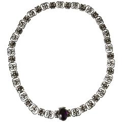 Georg Jensen Sterling Silver Necklace with Amethyst Stone