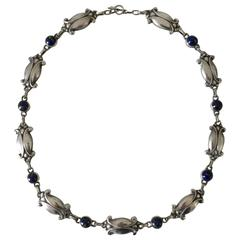 Georg Jensen Sterling Silver Necklace with Lapis Lazuli