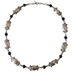Georg Jensen Sterling Silver Necklace with Blue Stones