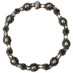 Georg Jensen Sterling Silver Necklace with Stones