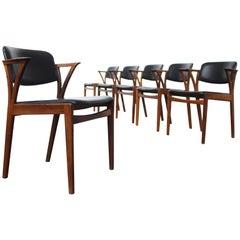 Set of Six Rosewood Kai Kristiansen Signed Bovenkamp Dining Chairs, Denmark