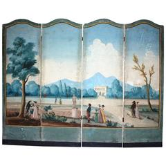 French Directoire Period Painted Wallpaper Screen