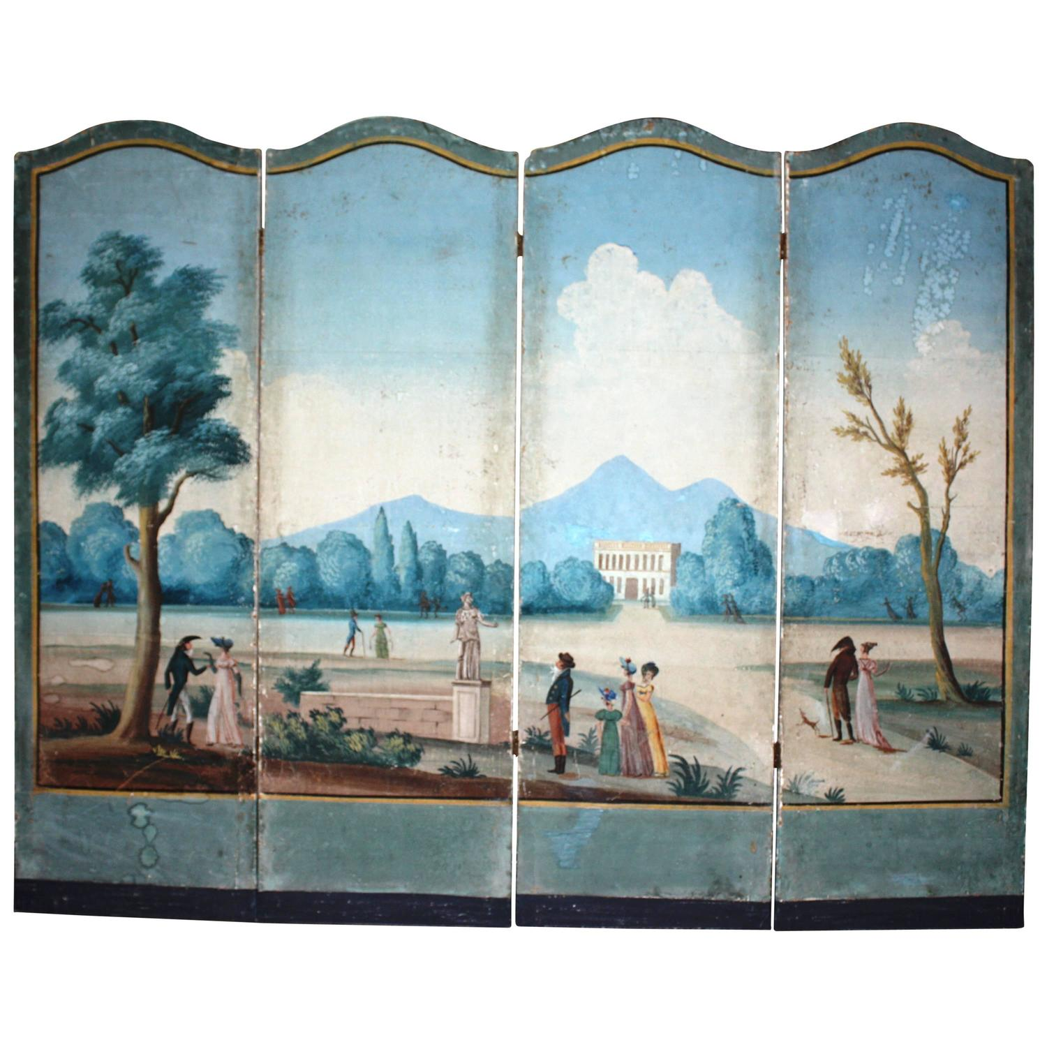 french directoire period painted wallpaper screen for sale at 1stdibs