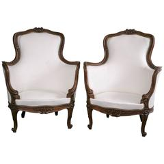 Pair of French Mid-19th Century Winged Bergeres