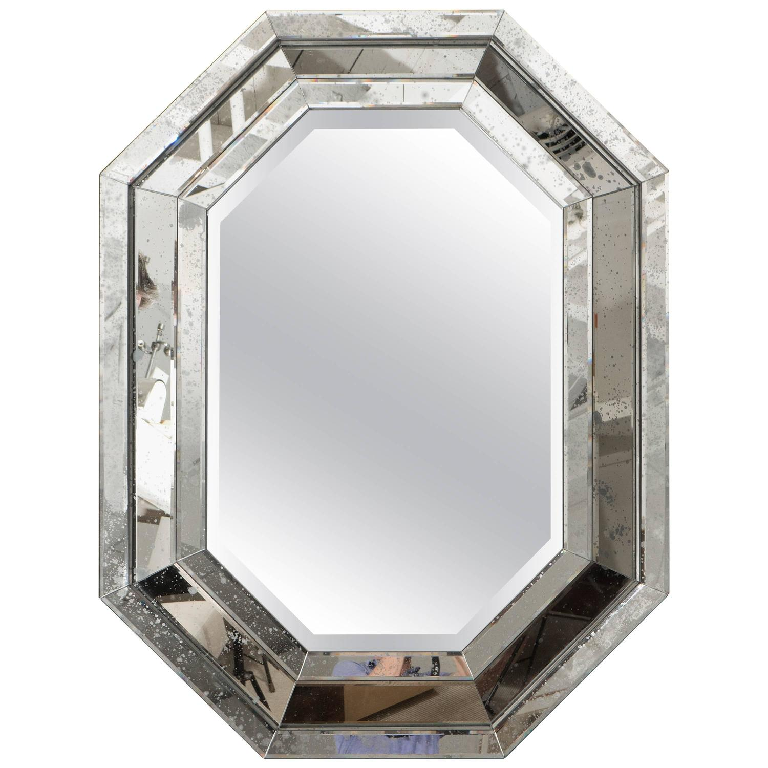 1940s Style Octagonal Mirror Framed In Beveled Mirror At