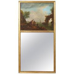 Continental Neoclassical Style Trumeua Mirror with Oil Canvas Landscape Painting