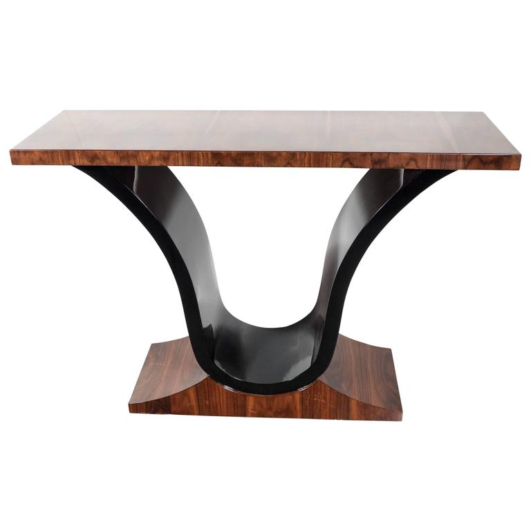 Art Deco Scroll Form Console Table in Exotic Rosewood and Black Lacquer