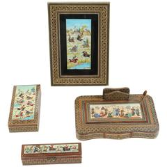 Micro Mosaic Inlaid Jewelry Boxes, Indo Persian Picture Frame, Desk Pen Holder