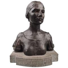 Bronze Bust of a Young Girl by Irish Sculptor and Roycrofter Jerome Connor