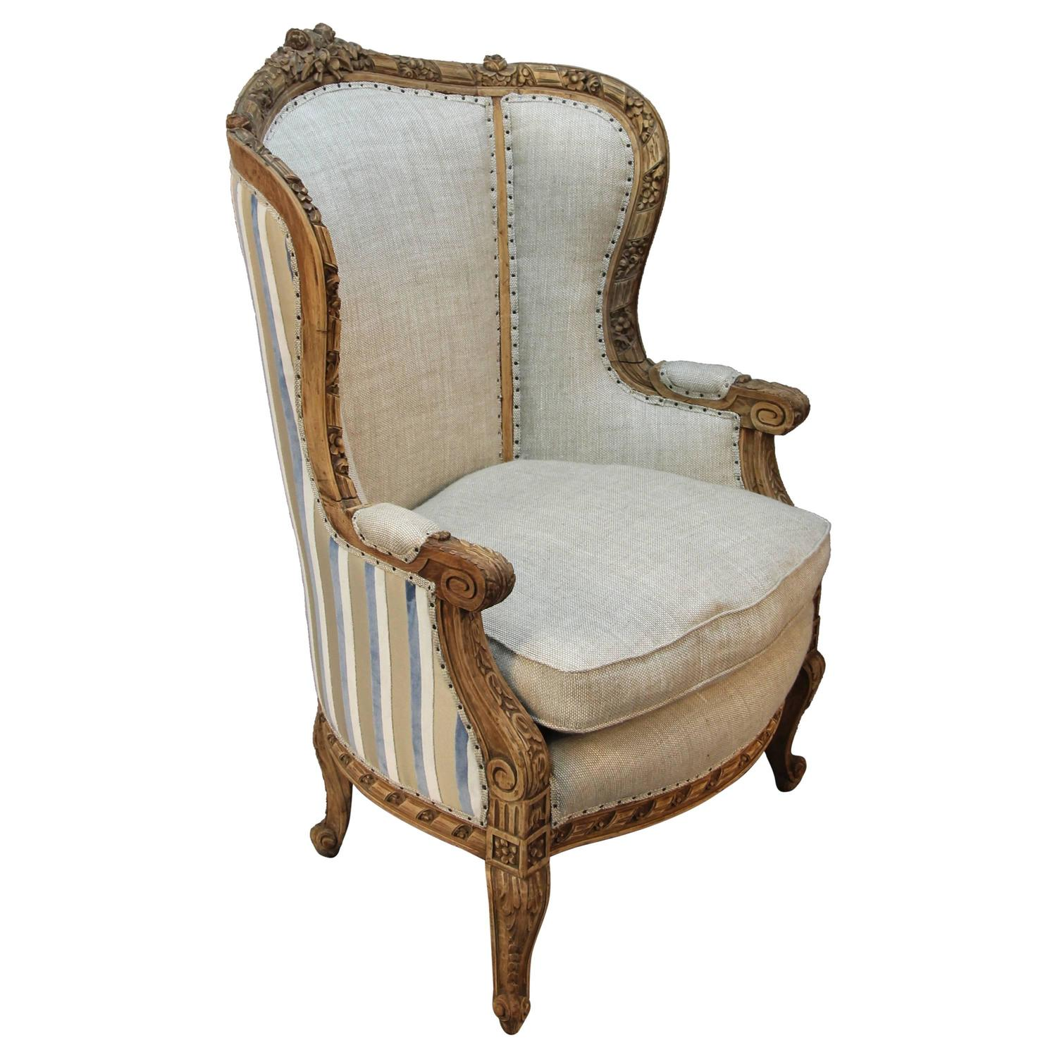 French Louis Xv Style Carved Wingback Bergere Armchair