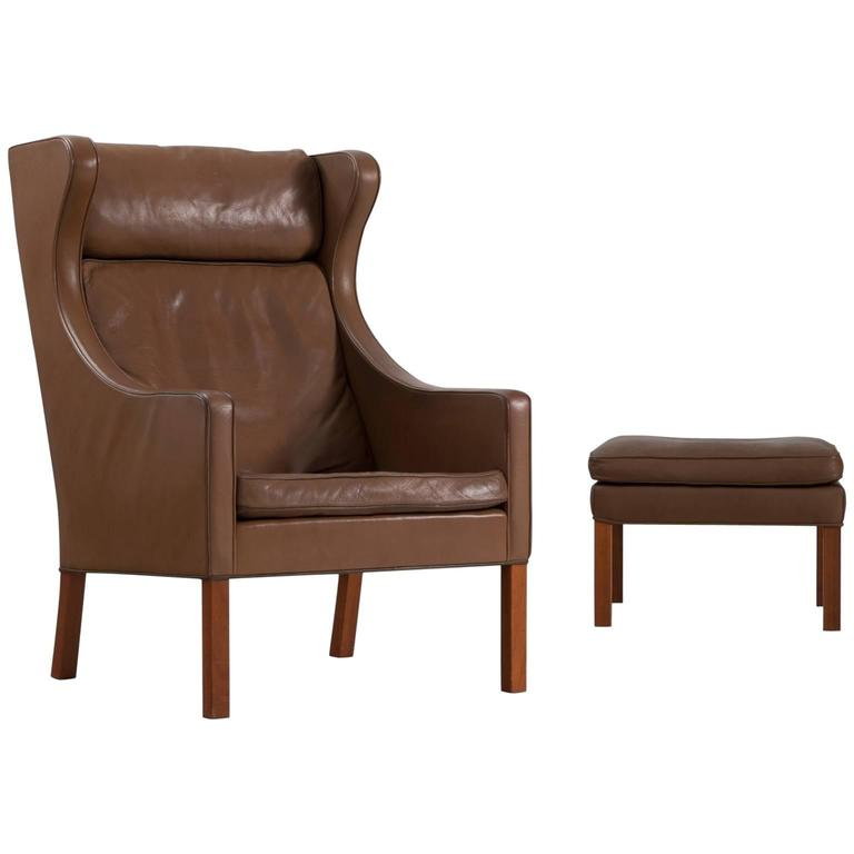 Børge Mogensen Brown Leather Wingback Chair, Denmark, 1960s For Sale