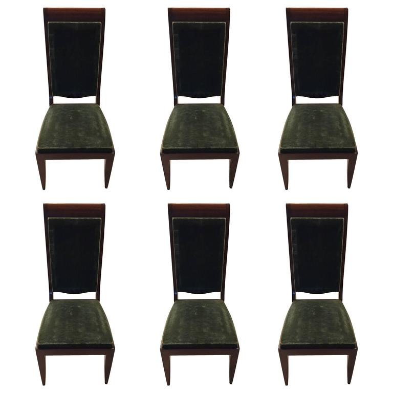 Six Gaston Poisson Numbered French Art Deco Dining Chairs For Sale