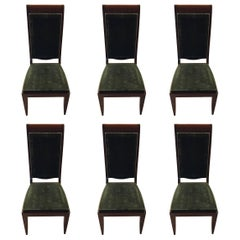 Six Gaston Poisson Numbered French Art Deco Dining Chairs