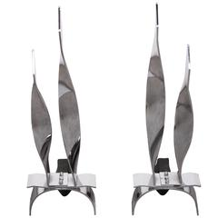 Pair of Midcentury Decorative 'Flame' Andirons