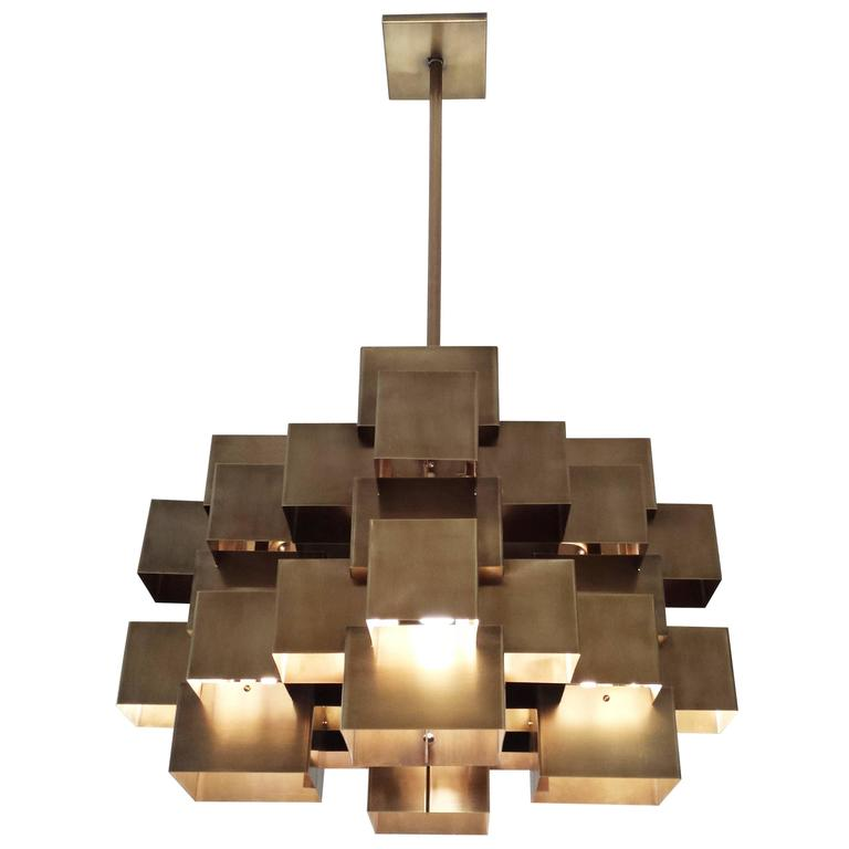Geometric Brass Chandelier: Oversized Cubist Geometric Brass Chandelier For Sale At