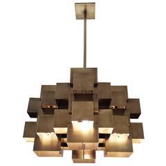 Oversized Cubist Geometric Brass Chandelier