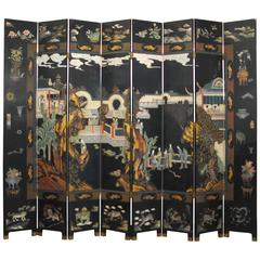 Eight-Panel Chinese Black Lacquer Coromandel Screen