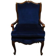 French Louis XV Style Velvet Wing Chair