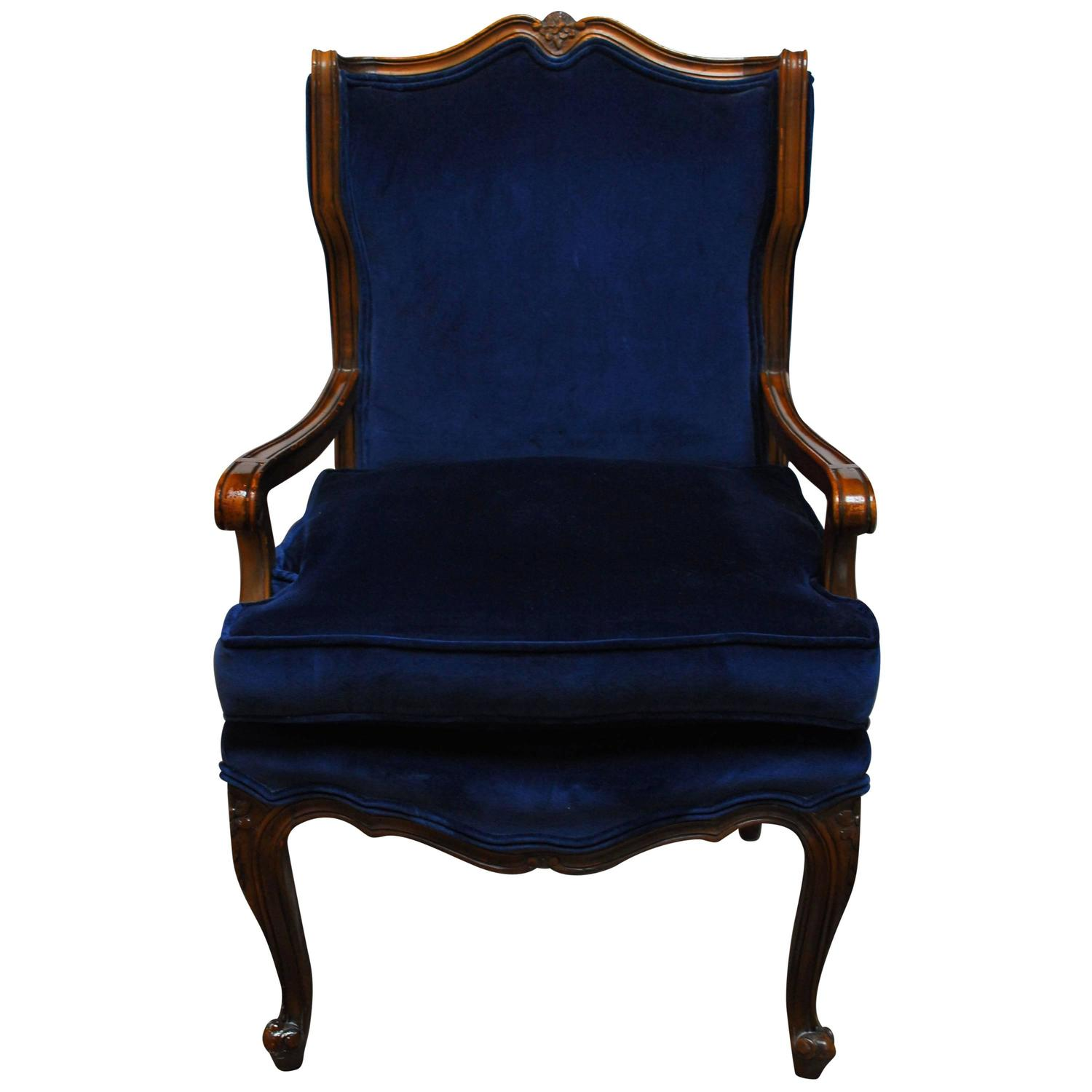 French Louis XV Style Velvet Wing Chair at 1stdibs