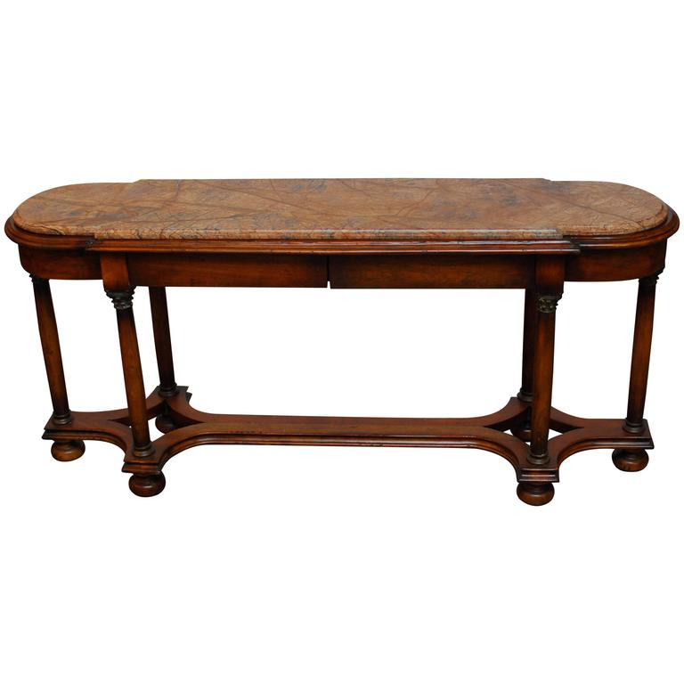 Carved Walnut Marble-Top Console