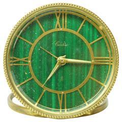 Cartier Green Malachite and Brass Round Desk Traveling Clock