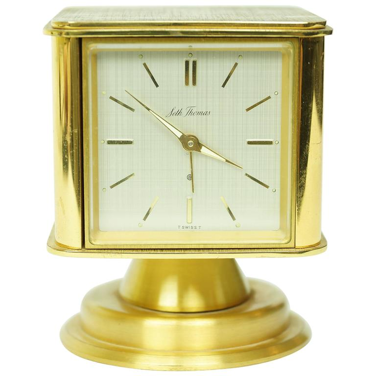 Unusual Square Form Multifunctional Brass Desk Clock For