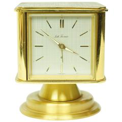 Unusual Square Form Multifunctional Brass Desk Clock