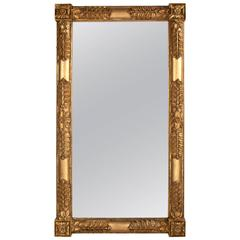 Monumental Classical Carved Giltwood Overmantel Mirror