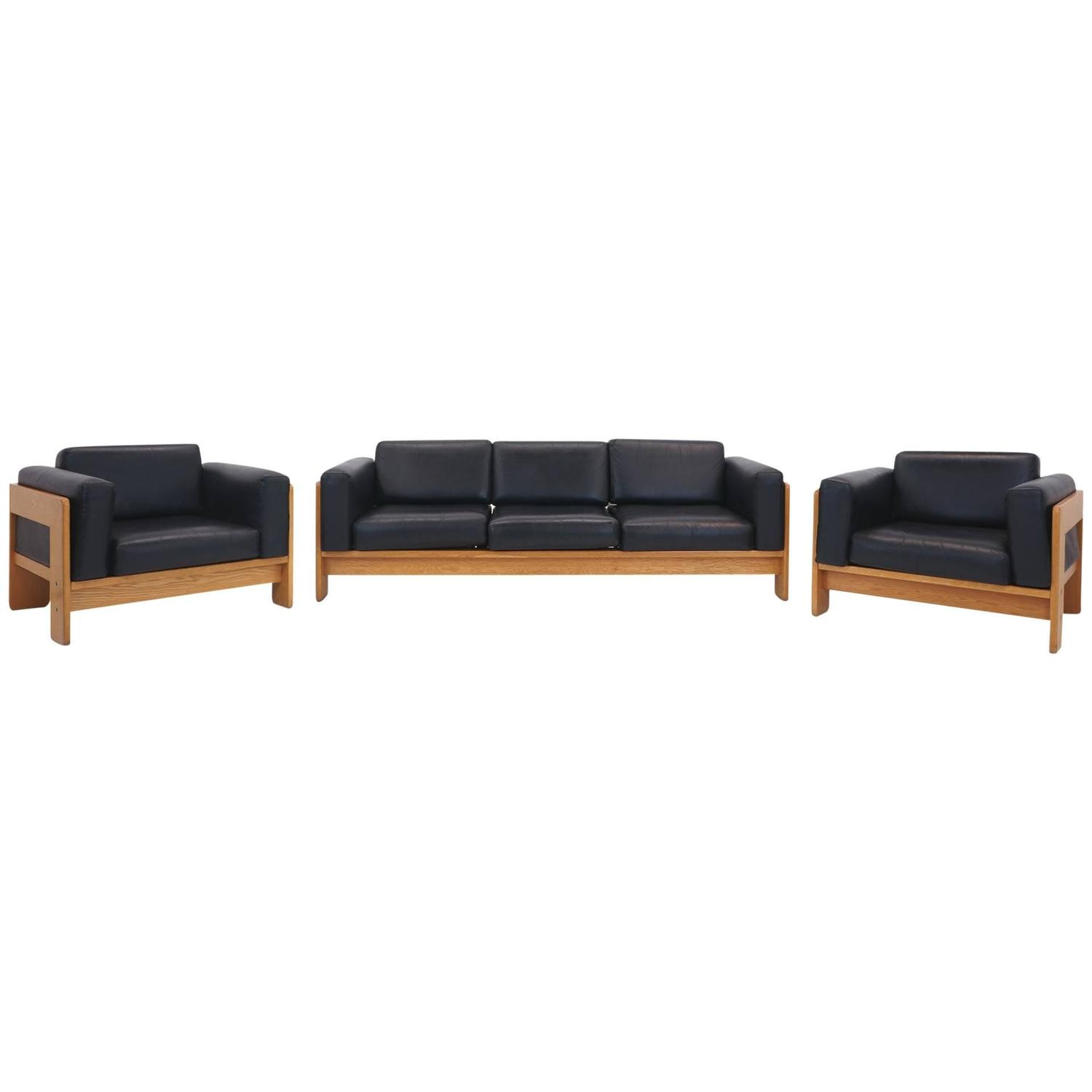 Tobia Scarpa Bastiano Walnut and Black Leather Sofa and Chairs for