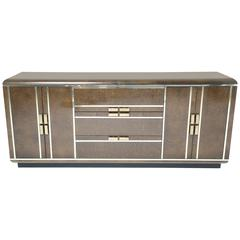 Romweber burlwood and brass sideboard in an art deco style.