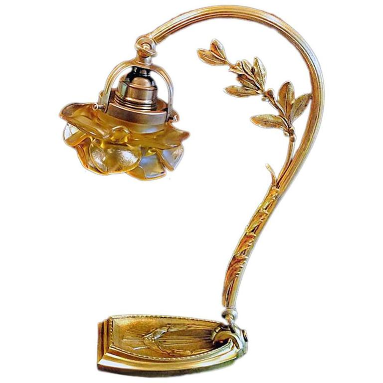 French Art Nouveau Desk Table Bronze lamp, circa 1920