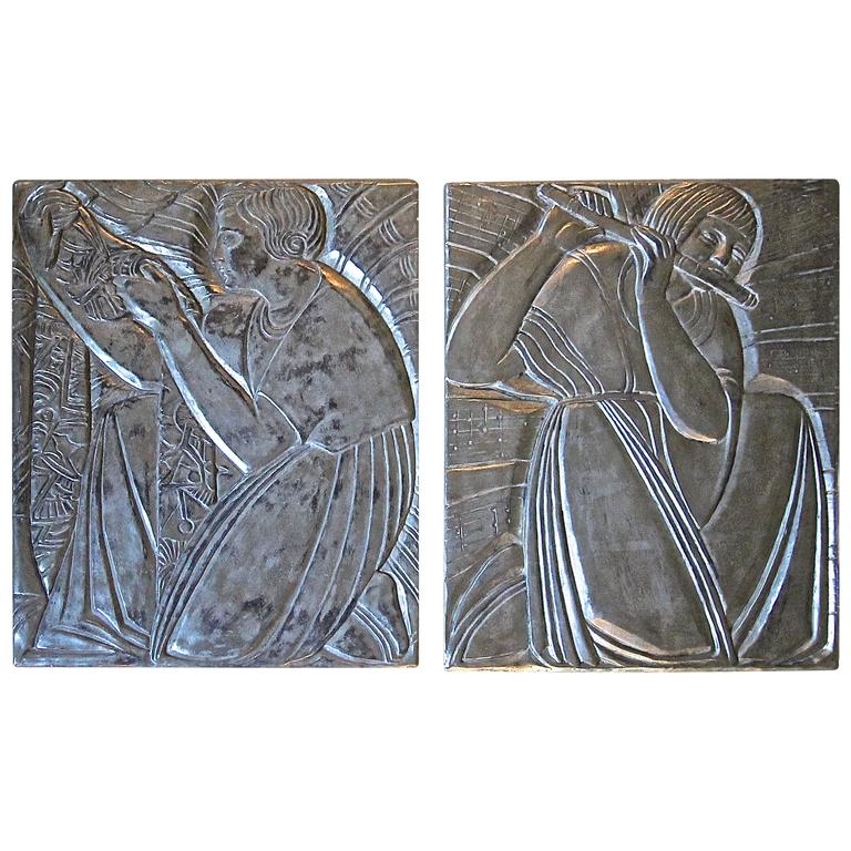 Pair Deco Style Silver Gilt Plaster Relief Wall Panels