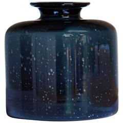 Erik Hoglund Deep Blue / Black Vase by the Artist for Boda, Sweden