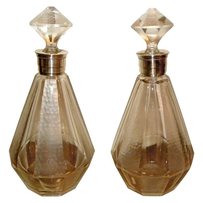 Pair of French Art Deco Glass Decanters