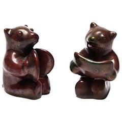 Set of Two Danish Modern Bear Musician Figurines