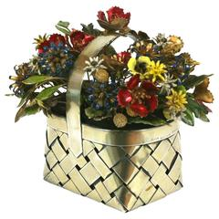 Cartier Sterling Enamel Flower Basket