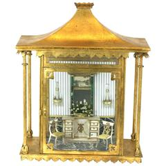 Gilt Tole Diorama with Period Interior