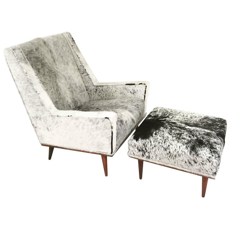 Milo Baughman Style Chair And Ottoman In Brazilian Cowhide For Sale