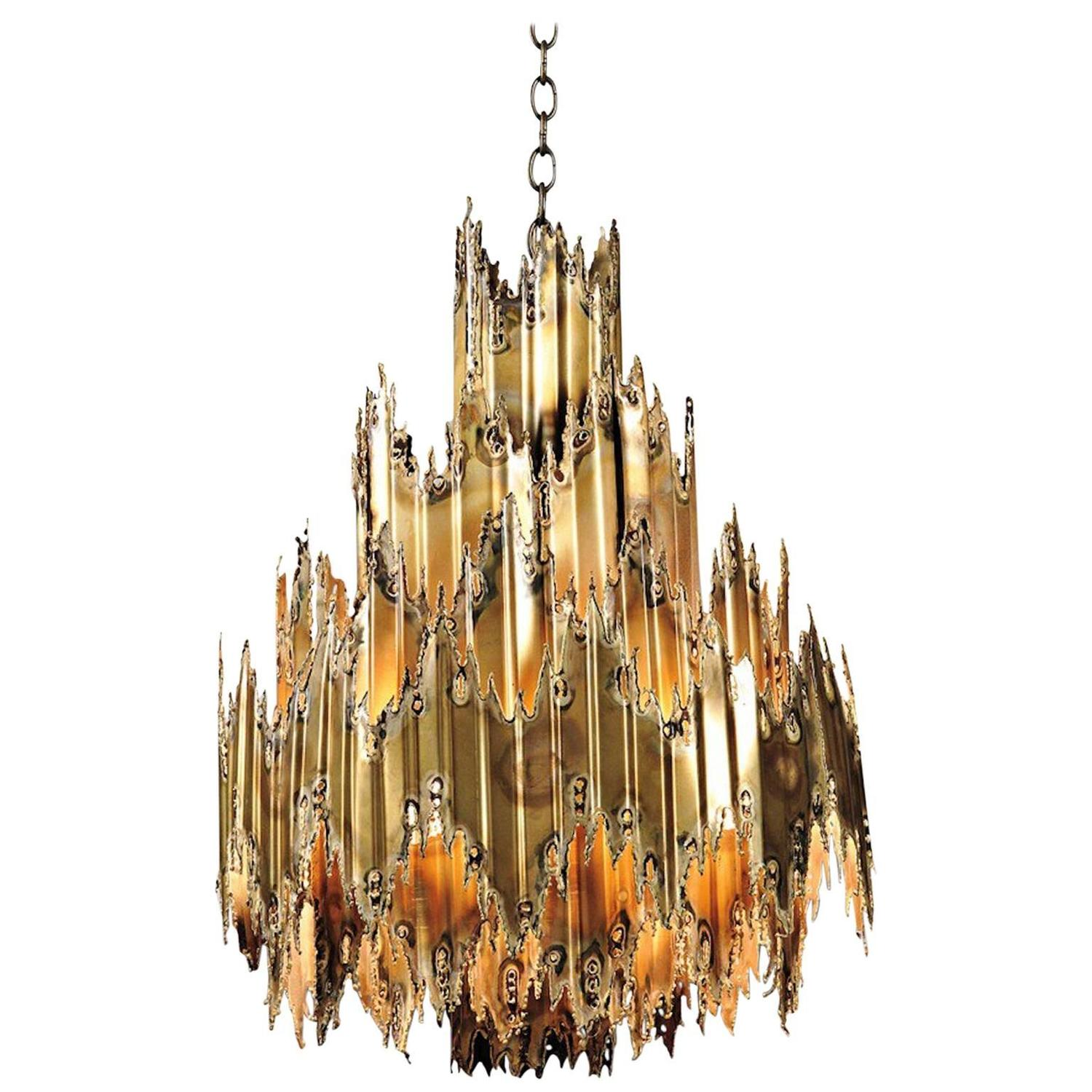 Brutalist Chandelier By T A Greene For Feldman Lighting