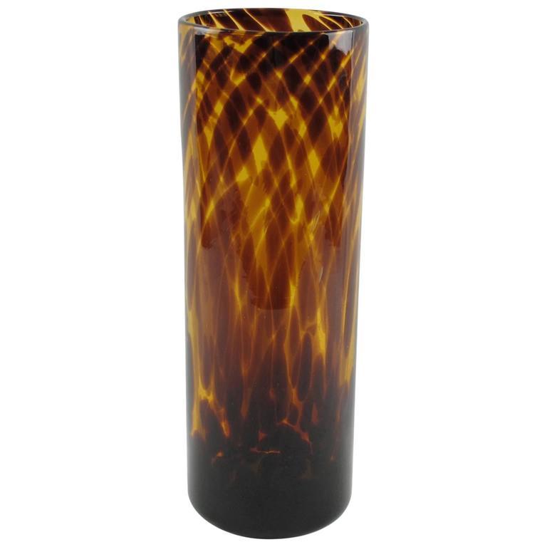 Christian Dior Modernist Tortoiseshell Glass Tumbler Vase