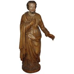 Early 19th Century Hand-Carved French Religious Statue