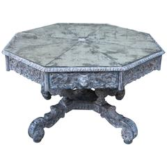 Octagonal Painted Centre or Dining Table with Mirrored Top
