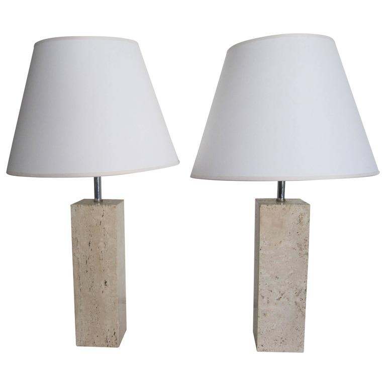 Pair Italian Modern Solid Travertine Marble Table Lamps, Italy 1970s 1