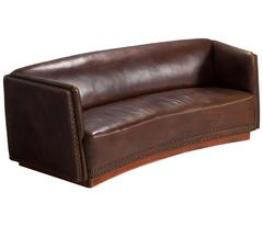 Fritz Hansen Brown Leather Sofa, 1940s