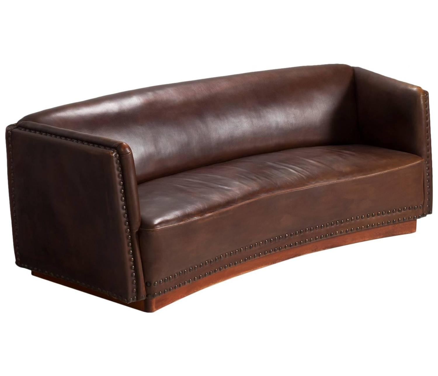 Fritz Hansen Brown Leather Sofa 1940s For Sale at 1stdibs