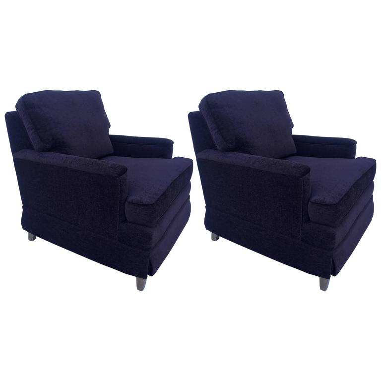 Pair of Lounge Curved Back Lounge Chairs After Edward Wormley