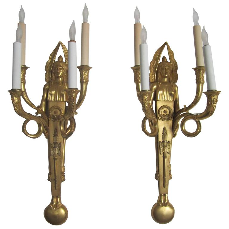 Near Antique Pair Of Egyptian Revival Bronze Wall Sconces With