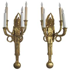 Pair Egyptian Revival Dore Bronze Wall Sconces