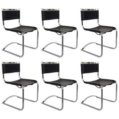Set of Six Chrome and Saddle Leather Dinning Chairs by Cy Mann
