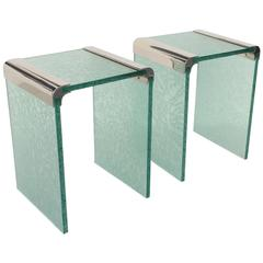 Pair of Etched Glass and Nickel Side Tables by Pace Collection